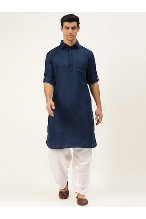 Molly & Michel Men Navy Blue & White Solid Regular Pure Cotton Kurta with Salwar