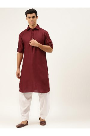 Molly & Michel Men Maroon Solid Regular Pure Cotton Pathani with Salwar