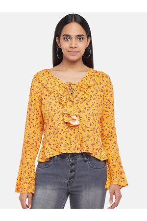 PEOPLE Mustard Yellow Floral Printed Tie-Up Neck Regular Top