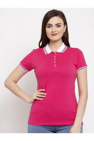 Prag & Co Women Pink & White Polo Collar T-shirt