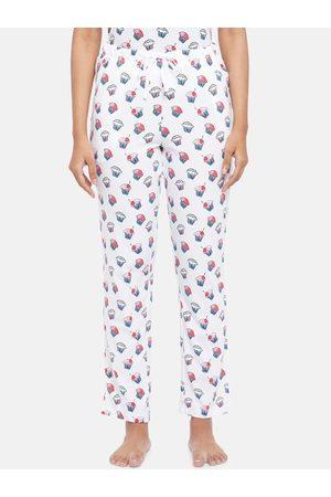 Dreamz by Pantaloons Women White & Pink Printed Night Suit Set