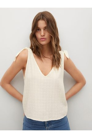 MANGO Off White Self Checked Regular Top with Tie-up Detail