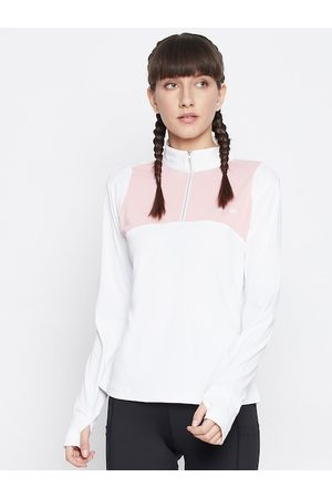 Jump Women White Polo Collar T-shirt
