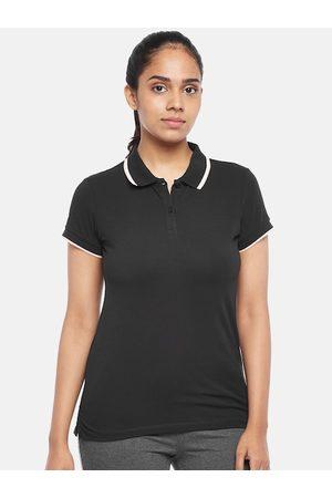 Pantaloons Women Black Polo Collar Pure Cotton T-shirt
