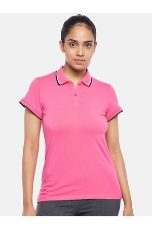 Pantaloons Women Pink Polo Collar Pure Cotton T-shirt