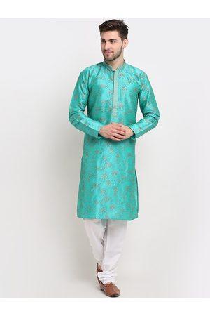 Jompers Men Green Ethnic Motifs Regular Kurta with Pyjamas