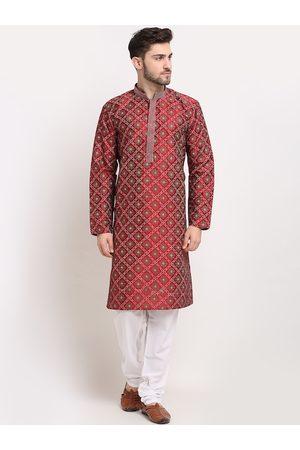 Jompers Men Maroon Ethnic Motifs Printed Regular Kurta with Pyjamas