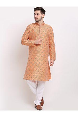 Jompers Men Ethnic Pyjamas - Men Orange Ethnic Motifs Printed Regular Kurta with Pyjamas