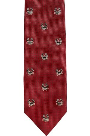 Alvaro Castagnino Men Neckties - Men Red & Black Woven Design Skinny Tie
