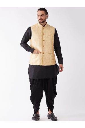Vastramay Men Black Embroidered Layered Top with Patiala