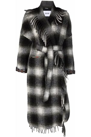 Bazar Deluxe Checked fringed trench coat