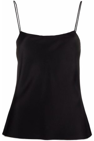 There Was One Women Tank Tops - Contrast-trim square-neck satin slip top