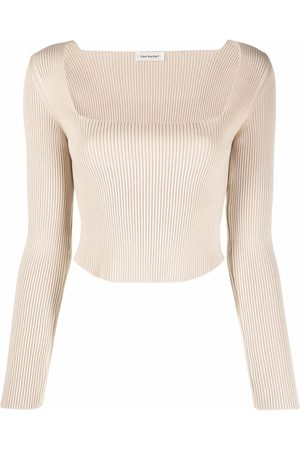There Was One Square-neck ribbed-knit long-sleeve top