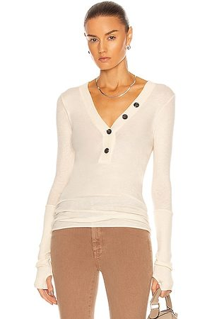 ENZA COSTA Cashmere Long Sleeve Cuffed Henley Top in Natural