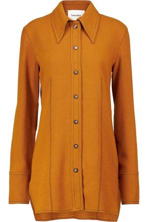 Nanushka Orah felted shirt jacket