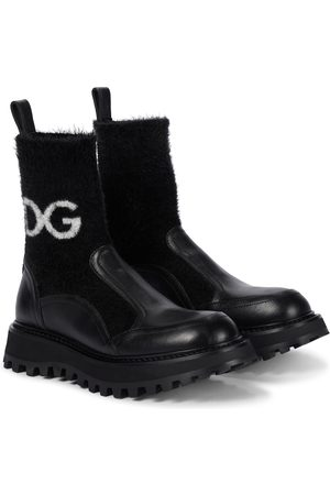 Dolce & Gabbana Leather-trimmed sock boots
