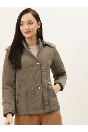 Monte Carlo Women Taupe Solid Detachable Hooded Parka Jacket