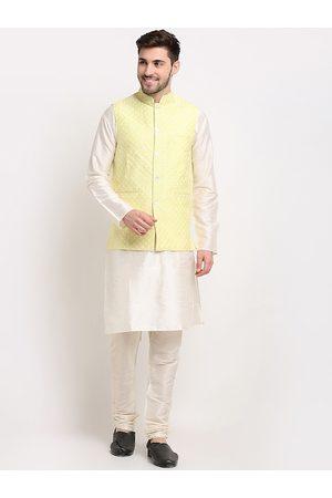 Jompers Men Yellow Regular Thread Work Dupion Silk Kurti with Churidar
