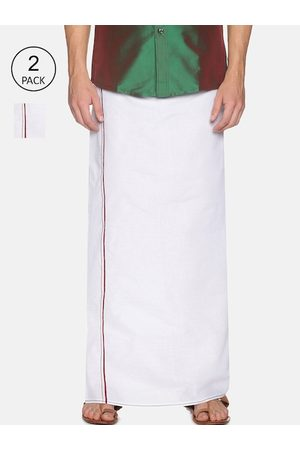Chennis Men Pack Of 2 White Solid Pure Cotton Dhotis