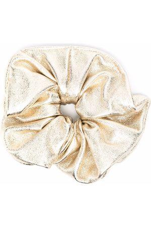 Manokhi Women Hair Accessories - Metallic ruched leather hair scrunchie