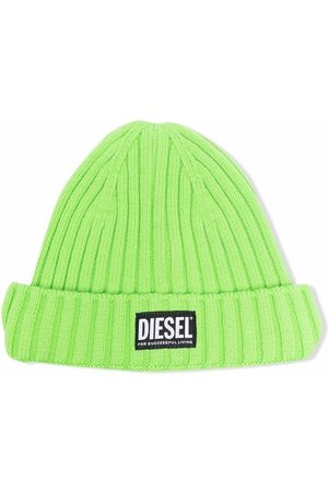 Diesel Ribbed knit logo-patch beanie