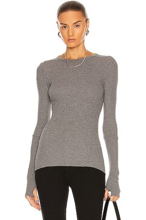 ENZA COSTA Laundered Cotton Thermal Long Sleeve Cuffed Crew Top in Graphite Heather