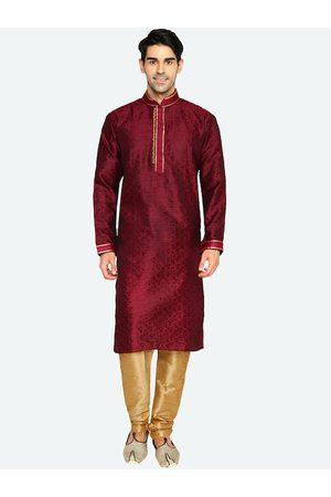 RG DESIGNERS Men Ethnic Pyjamas - Men Maroon & Beige Ethnic Motifs Kurta with Pyjamas