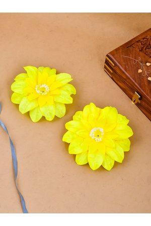 Silvermerc Designs Women Hair Accessories - Women Yellow Set of 2 Lace Alligator Hair Clips