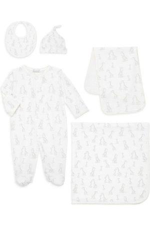Kissy Kissy Hats - Baby's 5-Piece Footie, Burp Cloth, Blanket, Hat & Bib Set