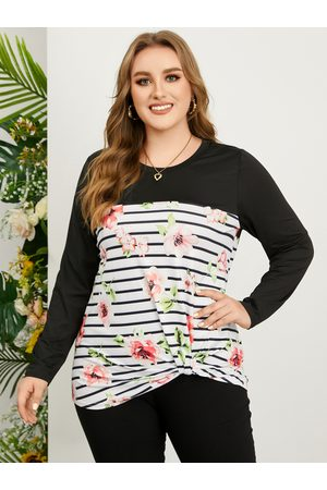 YOINS Plus Size Striped Floral Print Patchwork Long Sleeves Tee