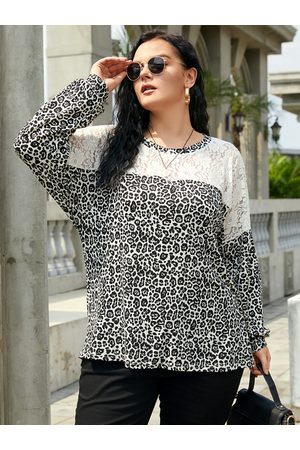 YOINS Plus Size Round Neck Leopard Patchwork Design Long Sleeves Tee
