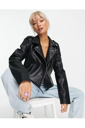 Noisy May Women Leather Jackets - Faux leather biker jacket in