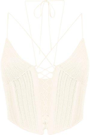 DION LEE Crochet tie-strap corset top