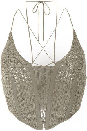 DION LEE Women Tank Tops - Crochet tie-strap corset top