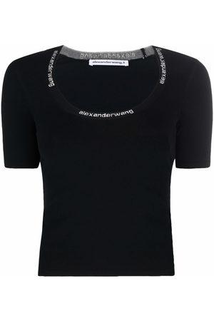 Alexander Wang Women Short Sleeve - Logo-trim scoop-neck T-shirt