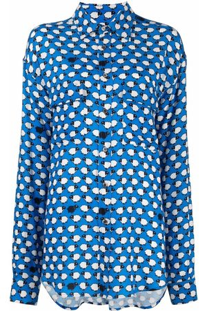 ALESSANDRO ENRIQUEZ Women Long Sleeve - Sheep-motif drop-shoulder shirt