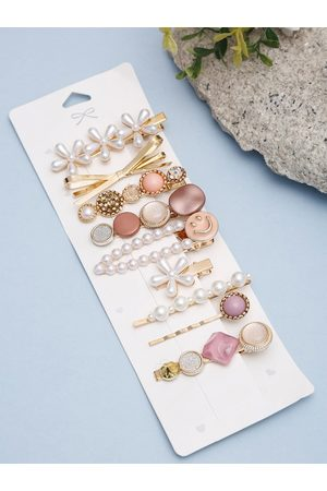 YouBella Women Hair Accessories - Women Set of 9 Gold-Toned & Pink Hair Accessory