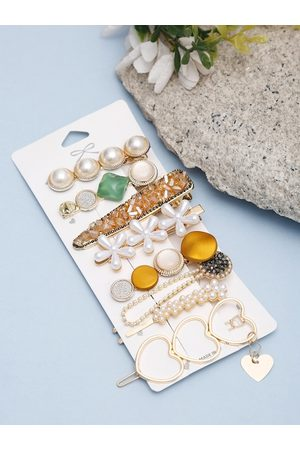 YouBella Women White & Gold-Toned Set of 8 Hair Accessories