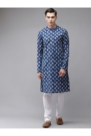 See Designs Men Ethnic Pyjamas - Men Blue Ethnic Motifs Printed Regular Pure Cotton Kurta with Pyjamas