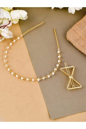 Silvermerc Designs Women Gold-Toned Set of 2 Beaded Hair Accessory Set