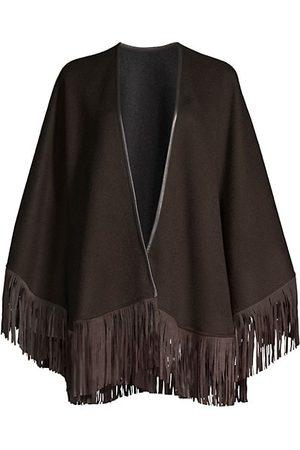 Sofia Cashmere Women Ponchos & Capes - Cashmere Double-Face Leather Fringe Cape