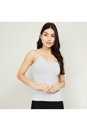 Ginger Women Slips - Solid Camisole with Lace Trim