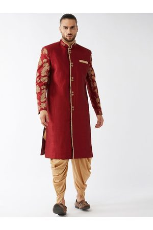 Vastramay Men Maroon & Gold-Coloured Embroidered Slim-Fit Sherwani Set