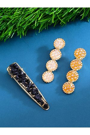 Yellow Chimes Jewellery Women Hair Accessories - Women Black & Gold-Toned Set of 3 Embellished Alligator Hair Clips
