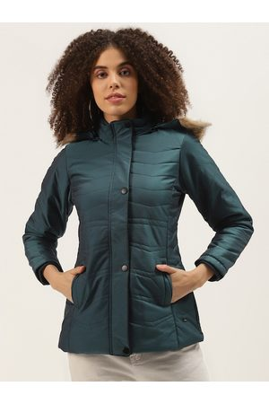 Duke Women Parkas - Women Teal Green Solid Parka Jacket