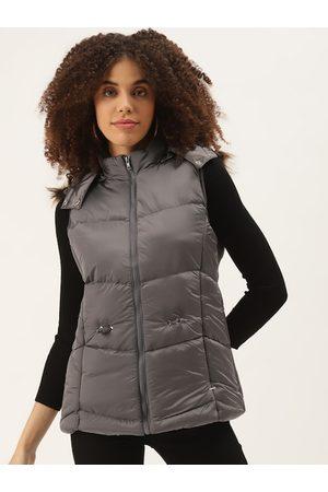 Duke Women Parkas - Women Charcoal Grey Solid Hooded Parka Jacket