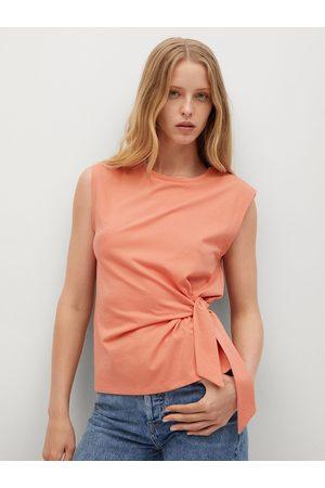 MANGO Peach-Coloured Side Tie-Up Regular Top