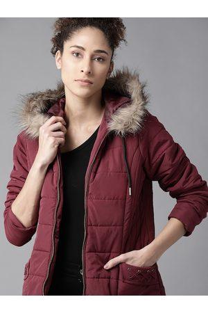 Roadster Women Parkas - Women Maroon Solid Parka Jacket with Detachable Hood