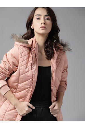 Roadster Women Parkas - Women Pink Solid Parka Jacket with Detachable Hood