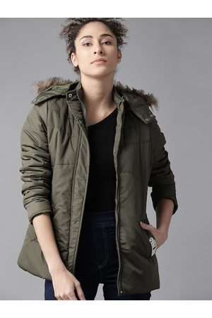 Roadster Women Olive Green Hooded Parka Jacket